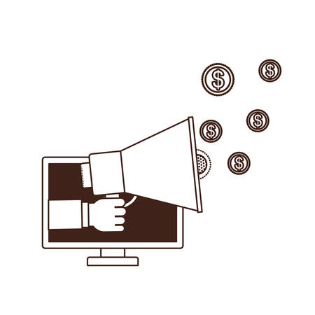 hand with megaphone and computer screen vector illustration design