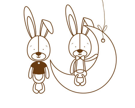 silhouette of cute bunnies sitting on the moon vector illustration design