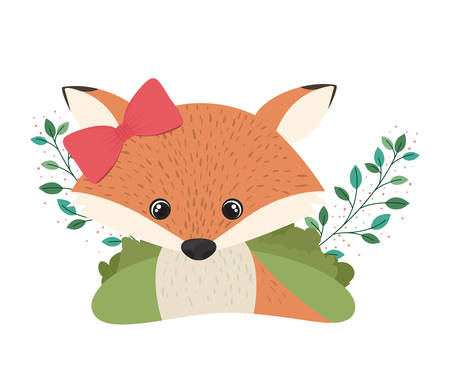 cute and adorable fox with white background vector illustration design
