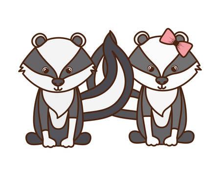 cute couple of skunks on white background vector illustration design