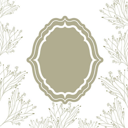 frame with plants and herbs isolated icon vector illustration design