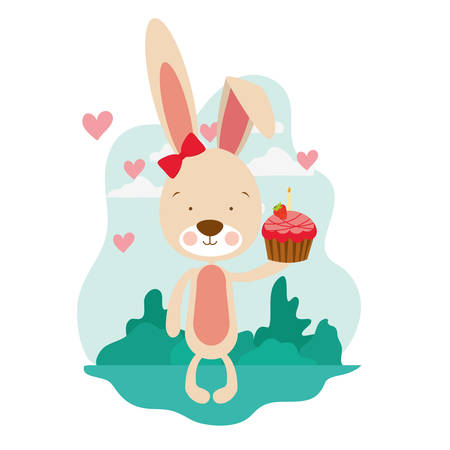 cute bunny with cake in the hand vector illustration design