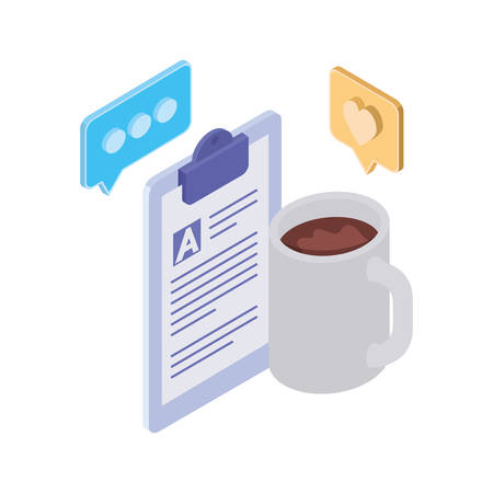 cup of coffee with curriculum vitae on white background vector illustration design Иллюстрация