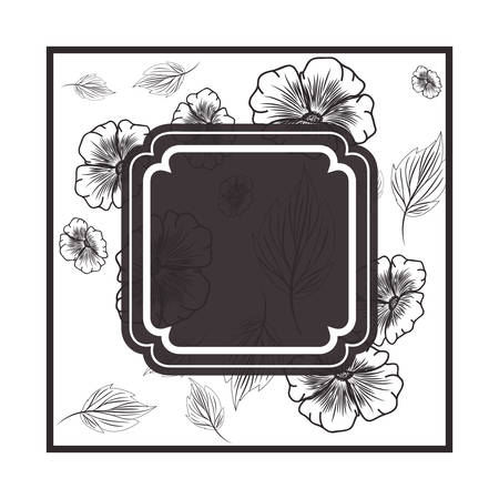 frame with flowers and leafs isolated icon vector illustration design