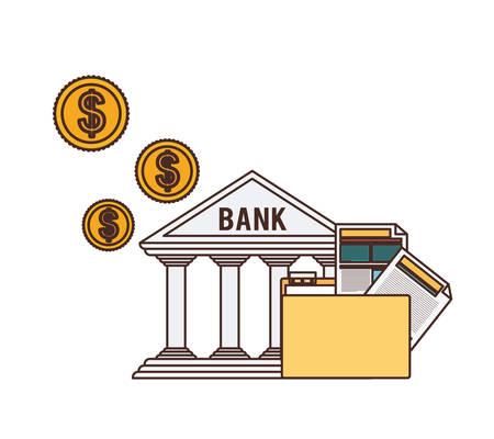 bank finance building in white background vector illustration design