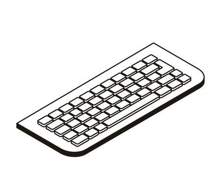silhouette of computer keyboard on white background vector illustration design Ilustração