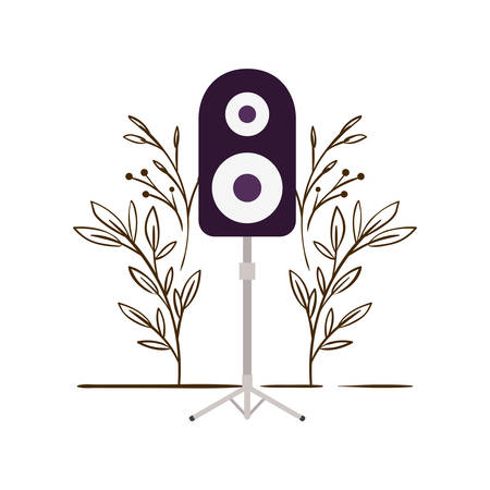 stereo speaker with branches and leaves in the background vector illustration design