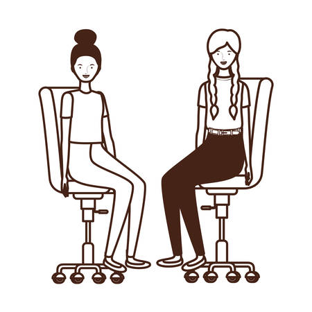 silhouette of women with sitting in office chair on white background vector illustration design