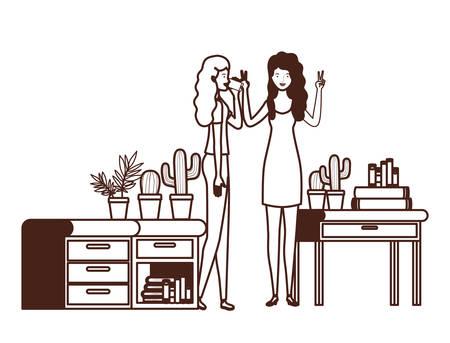 silhouette of women with bookshelf of wooden and books vector illustration design Illusztráció