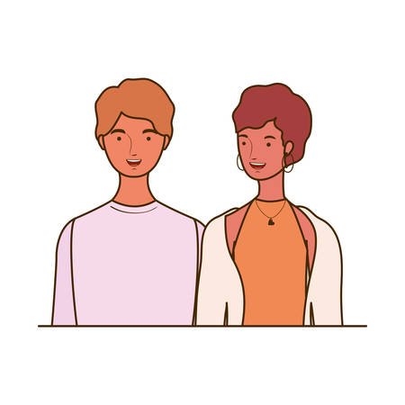 couple of people smiling on white background vector illustration design Foto de archivo - 129422801