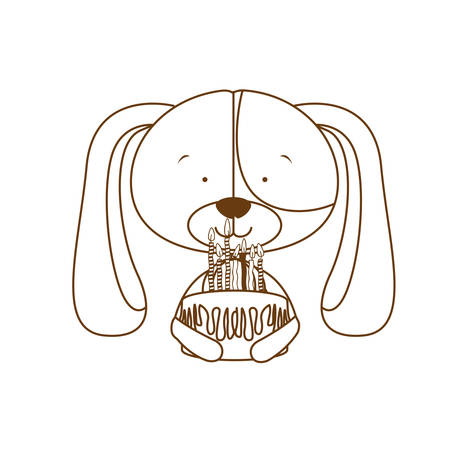 cute puppy with hearts and cake vector illustration design 일러스트
