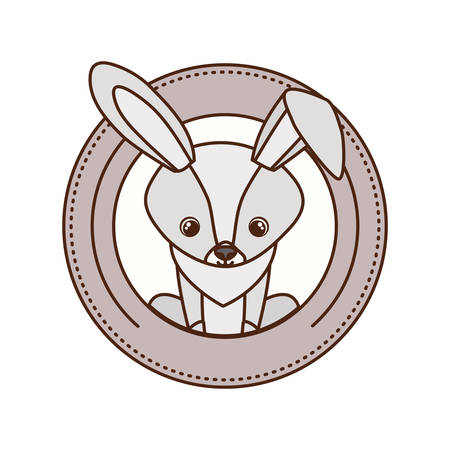 cute and adorable bunny with circular frame vector illustration design