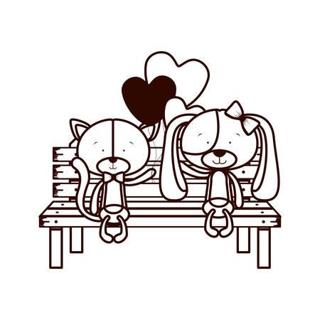 cute couple of dogs sitting on park chair vector illustration design Ilustração