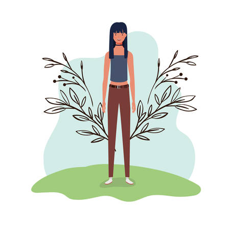 young woman standing with landscape background vector illustration design Archivio Fotografico - 129423093
