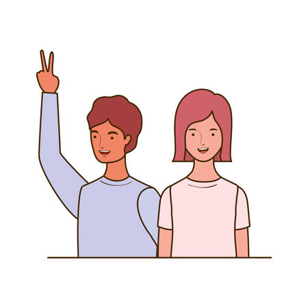 couple of people smiling on white background vector illustration design Banco de Imagens - 129423298