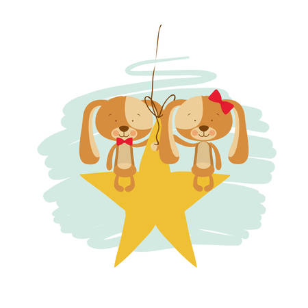 cute puppies sitting in the star vector illustration design
