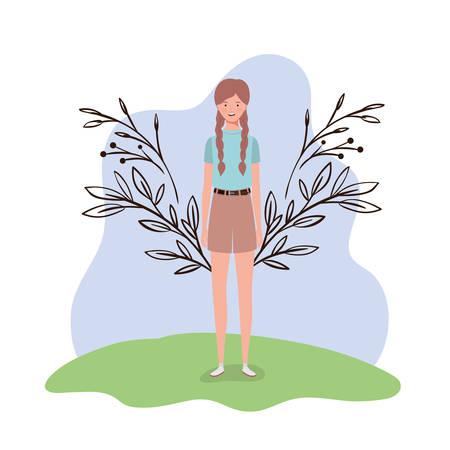 young woman standing with landscape background vector illustration design Illusztráció