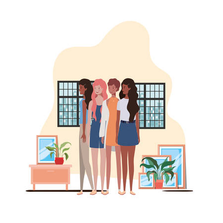 women living room with view the city by window vector illustration design Archivio Fotografico - 129423634