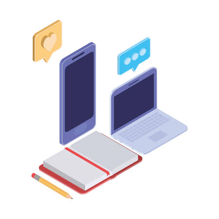 laptop and smartphone with speech bubble on white background vector illustration design