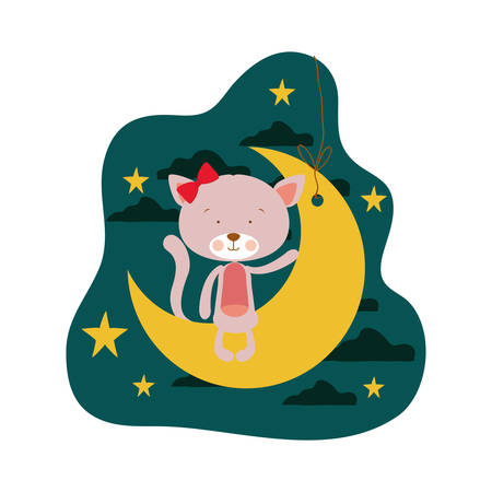cute cat sitting in the moon vector illustration design