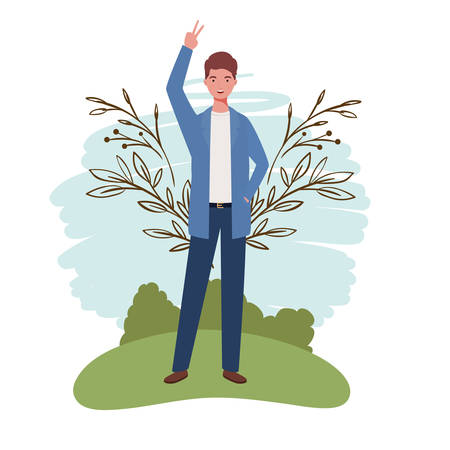 young man standing with landscape background vector illustration design Archivio Fotografico - 129423680