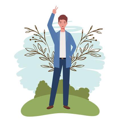 young man standing with landscape background vector illustration design Banco de Imagens - 129423680