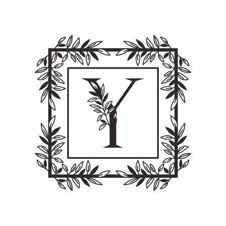 letter Y of the alphabet with vintage style frame vector illustration design Ilustracja