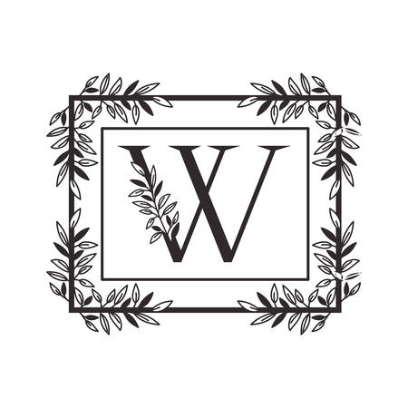 letter W of the alphabet with vintage style frame vector illustration design Ilustracja