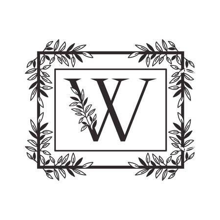 Lettre W de l'alphabet avec la conception d'illustration vectorielle de cadre de style vintage