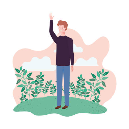 young man standing with landscape background vector illustration design Archivio Fotografico - 129423746
