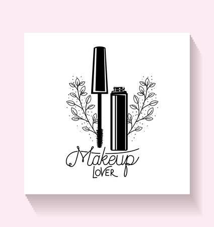 eyelash make up in floral frame vector illustration design Illusztráció