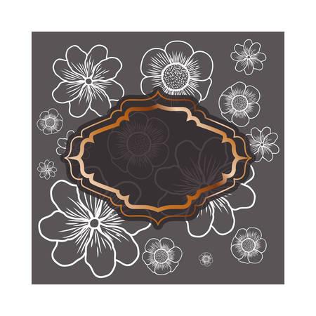 frame with flowers isolated icon vector illustration design Illusztráció