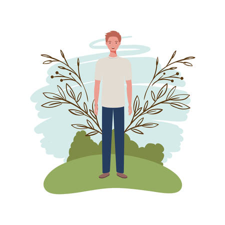 young man standing with landscape background vector illustration design Archivio Fotografico - 129423777