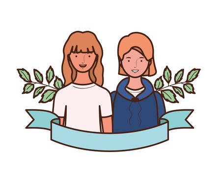young women with branches and leaves background vector illustration design