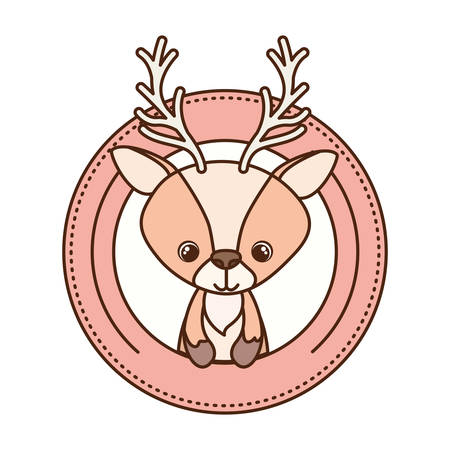cute and adorable deer with circular frame vector illustration design