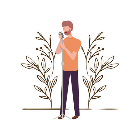 man with microphone and branches and leaves in the background vector illustration design Ilustração