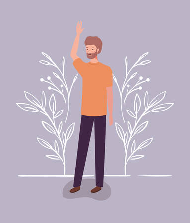 young and casual man with beard character vector illustration design