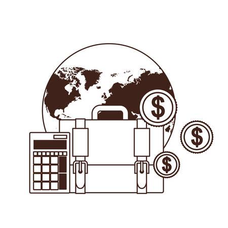 set of icons with suitcase of businessman in white background vector illustration design Ilustração