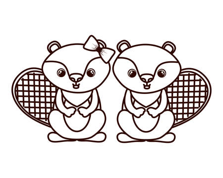 cute couple of chipmunk on white background vector illustration design Banco de Imagens - 129424184