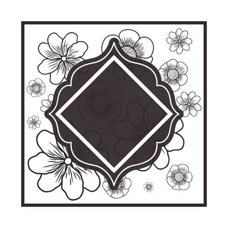frame with flowers isolated icon vector illustration design Çizim
