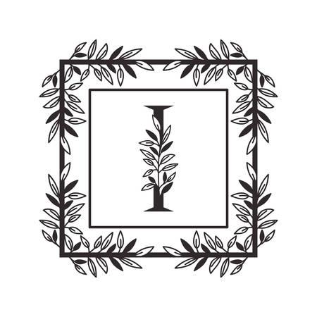 letter I of the alphabet with vintage style frame vector illustration design