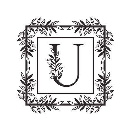 Lettre U de l'alphabet avec la conception d'illustration vectorielle de cadre de style vintage
