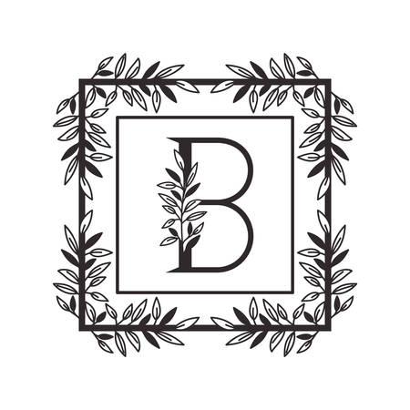 letter B of the alphabet with vintage style frame vector illustration design Illustration