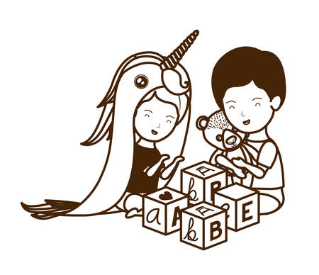 Baby boy and girl design, Child newborn childhood kid innocence and little theme Vector illustration Ilustração
