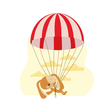 cute puppy with parachute and background clouds vector illustration design