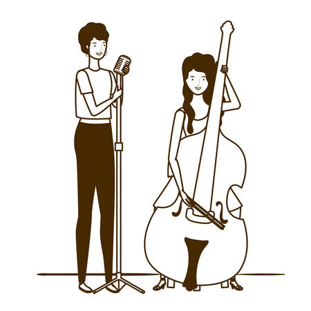 silhouette of women with musicals instruments on white background vector illustration design