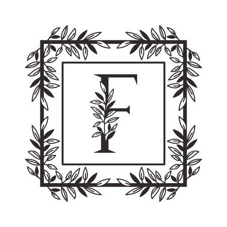 letter F of the alphabet with vintage style frame vector illustration design