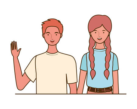 couple of people smiling on white background vector illustration design Banco de Imagens - 129422289