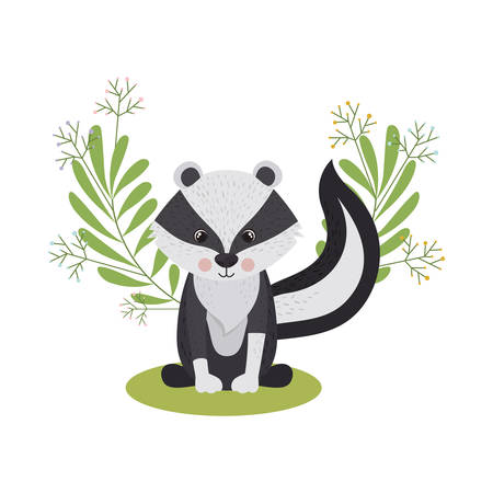 cute and adorable skunk with wreath vector illustration design Stock Illustratie