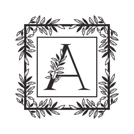 letter A of the alphabet with vintage style frame vector illustration design